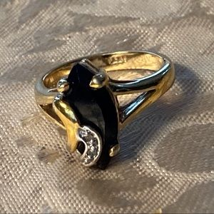 🎃 Vintage Dinner Ring Onyx and Rhinestone 6.5